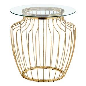 Table d'appoint Monarch Specialties en métal doré et verre trempé, 24 po H