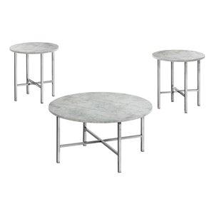 Tables d'appoint Monarch Specialties, ciment gris et métal chrome, ens. de 3