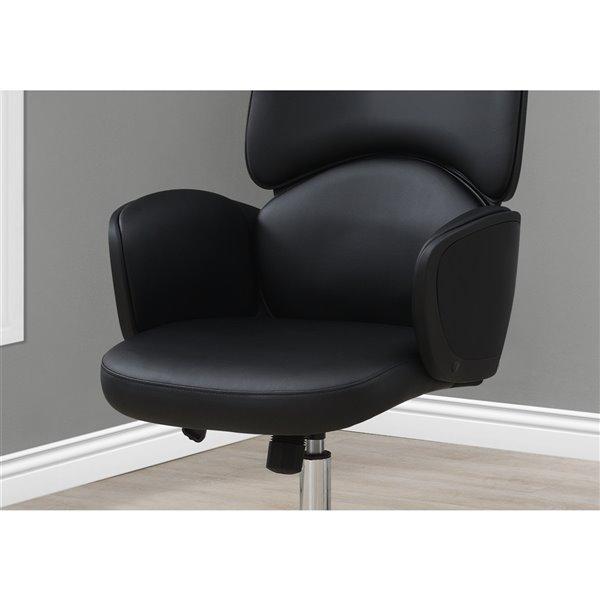 Chaise de bureau Monarch Specialties avec dossier exécutif, hauteur du siège réglable, similicuir gris