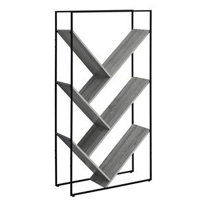 Monarch Specialties Bookcase - Grey and Black Metal - 60-in H