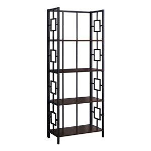 Bibliothèque étagère en coin Monarch Specialties, taupe foncé et métal noir, 62 po H