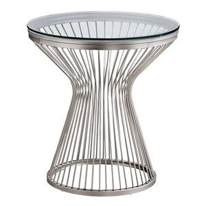 Table d'appoint Monarch Specialties en acier inoxydable et verre trempé, 24 po H