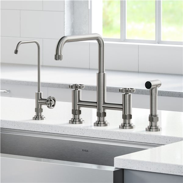 Kraus Bridge Kitchen Faucet And Water Filter Stainless Steel Rona