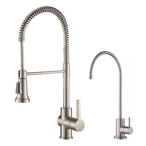 Kraus Britt Commercial Kitchen Faucet and Water Filter - Stainless Steel