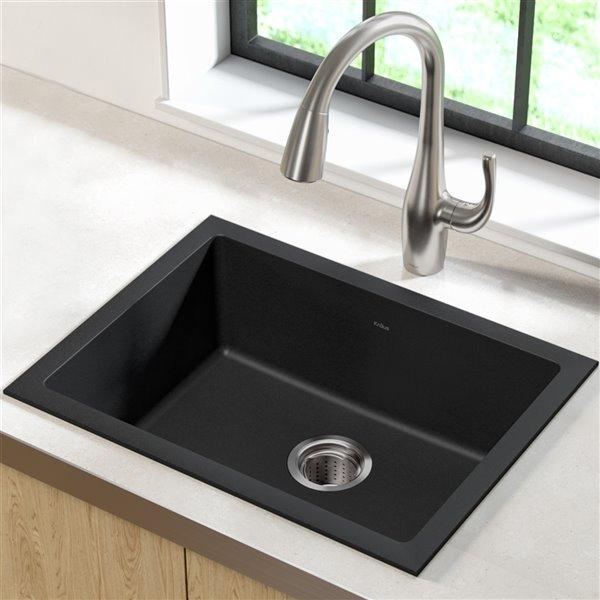 Kraus Dual Mount Kitchen Sink - Single Bowl - 24-in - Onyx Black Granite