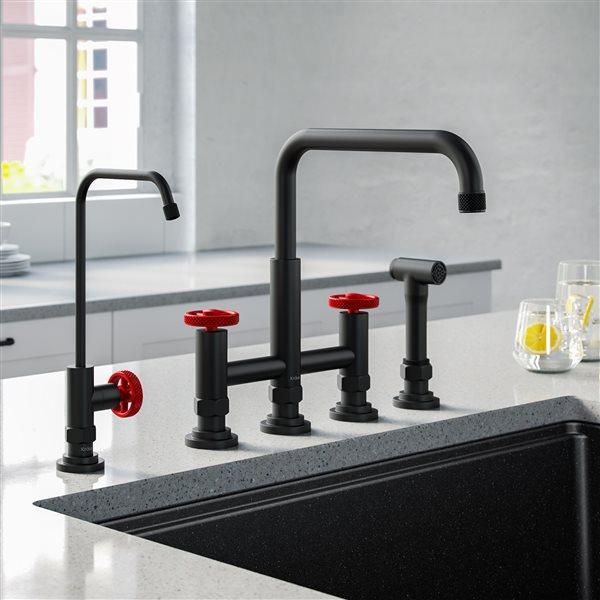 Kraus Bridge Kitchen Faucet and Water Filter - Matte Black/Red