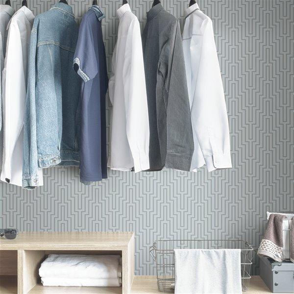 Scott Living Sky Blue Crystalline Self-Adhesive Wallpaper - 20.5-in x 18-ft - Blue/White
