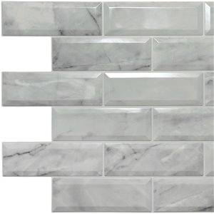 Dundee Deco Falkirk Retro 3D II - PVC 3D Wall Panel -  Off-White Faux Marble Bricks - 3.3-ft X 2-ft  - 4 Sq.-Ft. each - 10-Pack