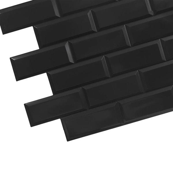 Dundee Deco Falkirk Retro 3D II - PVC 3D Wall Panel -  Black Faux Bricks - 3.2-ft X 1.6-ft  - 5 Sq. Ft. each - 10-Pack