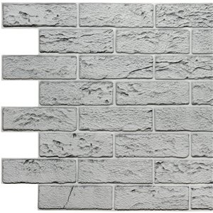 Dundee Deco Falkirk Retro 3D II - PVC 3D Wall Panel - Distressed Grey Faux Bricks - 3.3-ft X 2-ft  - 6.4 Sq. Ft. each - 10-Pack