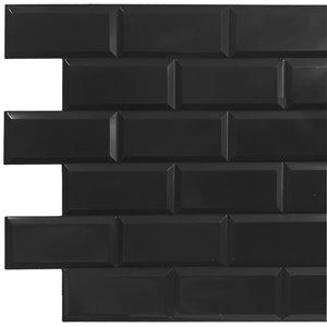 Dundee Deco Falkirk Retro 3D II - PVC 3D Wall Panel -  Black Faux Bricks - 3.2-ft X 1.6-ft  - 5 Sq. Ft.  each - 5-Pack