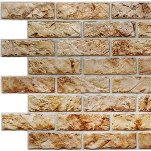 Dundee Deco Falkirk Retro 3D II - PVC 3D Wall Panel -  Copper Brown Faux Bricks - 3.3-ft X 2-ft  - 6.4 Sq.-Ft. each - 5-Pack