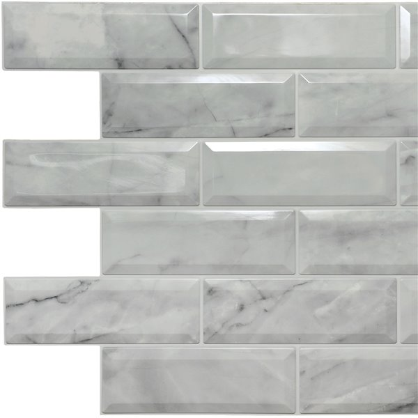 Dundee Deco Falkirk Retro 3D II - PVC 3D Wall Panel -  Off-White Marble Faux Bricks - 3.3-ft X 2-ft  - 6.4 Sq.-Ft. each - 5-Pack
