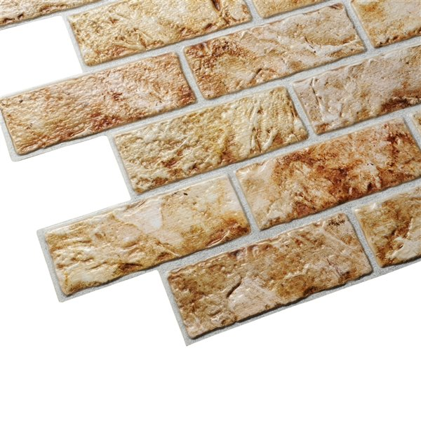 Dundee Deco Falkirk Retro 3D II - PVC 3D Wall Panel - Rustic Copper Brown Faux Bricks - 3.3-ft X 2-ft  - 6.4 Sq.-Ft. each