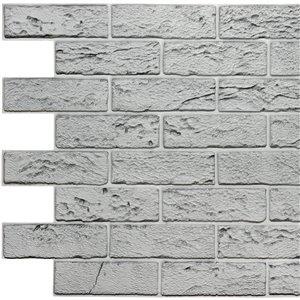 Dundee Deco Falkirk Retro 3D II - PVC 3D Wall Panel - Distressed Grey Faux Bricks - 3.3-ft X 2-ft  - 6.4 Sq.-Ft. each