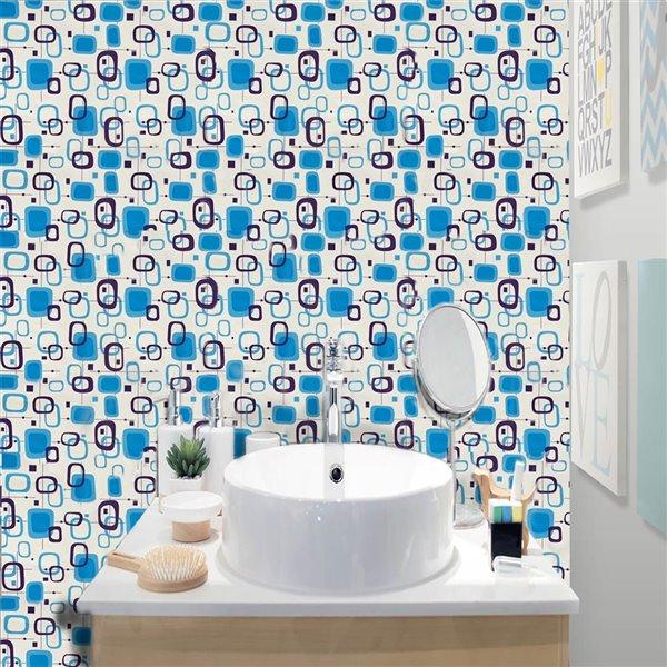 Dundee Deco Falkirk McGowen Peel and Stick Wallpaper Geometric Printed Blue, Dark Mauve, White Shapes - 26.6 Sq. ft.