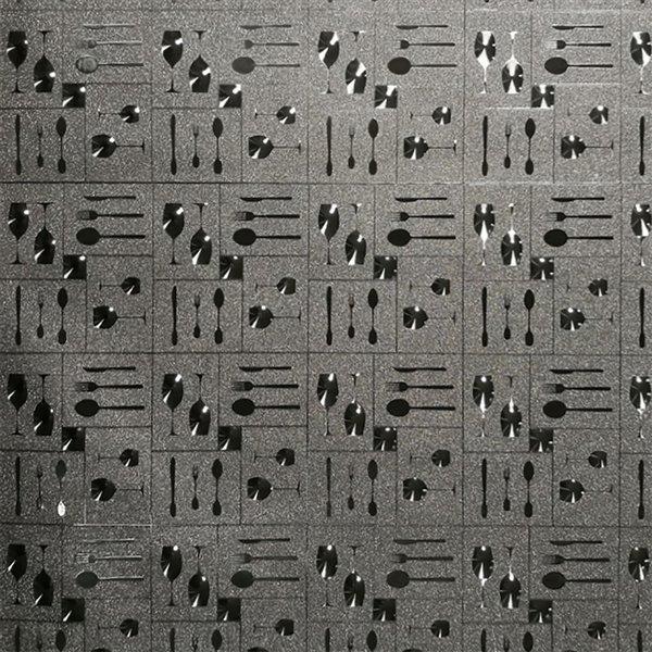 Dundee Deco Falkirk McGowen Peel and Stick Wallpaper Kitchen Glitter Dark Silver Wine Glasses, Cutlery - 26.6 Sq. ft.