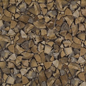 Dundee Deco Falkirk McGowen Peel and Stick Wallpaper Distressed Wooden Brown Cut Logs - 35.5 Sq. ft.