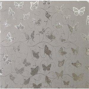 Dundee Deco Falkirk McGowen Peel and Stick Wallpaper Animals Glitter Silver, Grey Butterflies, Vines - 26.6 Sq. ft.