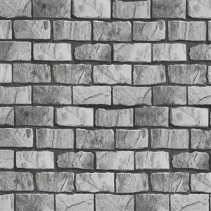 Dundee Deco Falkirk McGowen Peel and Stick Wallpaper Distressed Marble Grey, Beige Bricks - 35.5 Sq. ft.