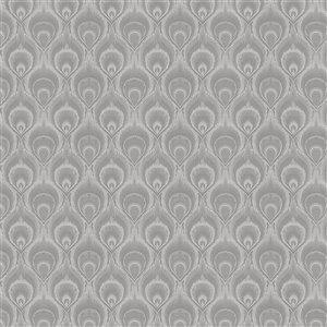 Dundee Deco Falkirk McGowen Peel and Stick Wallpaper Ikat Grey Droplets - 35.5 Sq. ft.