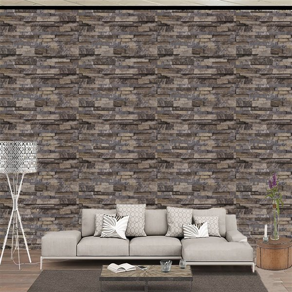 Dundee Deco Falkirk McGowen Peel and Stick Wallpaper Distressed Marble Grey, Yellow Slate - 35.5 Sq. ft.