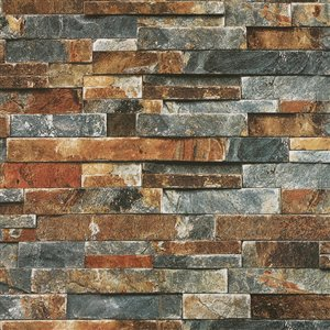 Dundee Deco Falkirk McGowen Peel and Stick Wallpaper Distressed Marble Grey, Orange Slate - 26.6 Sq. ft.
