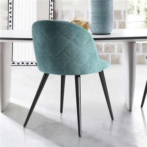 FurnitureR Dining Chair with Fabric Upholstery - Green - Set of 2
