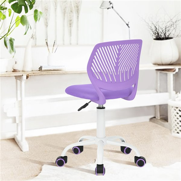 FurnitureR CARNATION Colorful Office Chair Breathable Mesh - 5 Casters - Purple