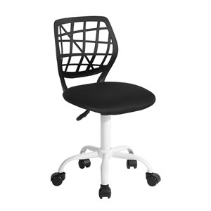 Chaise de bureau CARNATION PLICA FurnitureR avec dossier ajouré et 5 roulettes, noire