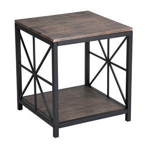 Table de bout carrée FurnitureR vintage, marron, 20 po x 20 po x 20 po