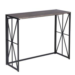 Table console pliante FurnitureR pour petits ordinateurs de bureau, marron et noir - 39.4 po