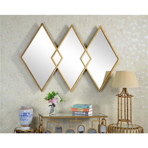 Plata Import Diamond Triangle Wall Mirror - Horizontal - Gold