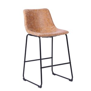 Plata Import Landon Bar Stool - with Backrest & Footrest - Tan