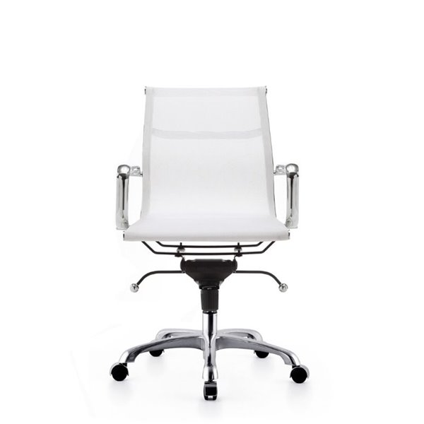 Plata Import Miya Mesh Mid Back Office Chair - White