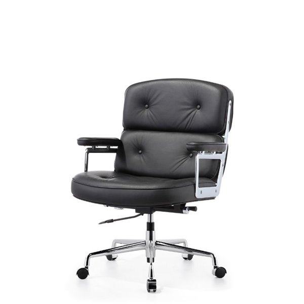 Plata Import Lobby Leather Mid Back Office Chair - Black