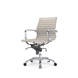 Plata Import Toni Mid Back Office Chair with Chrome Frame - Gray