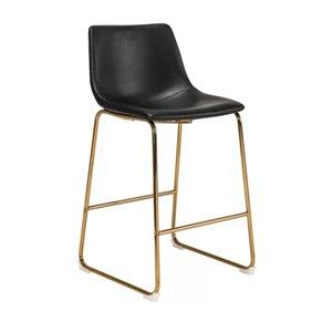 Plata Import Landon Bar Stool - with Backrest & Footrest - Black