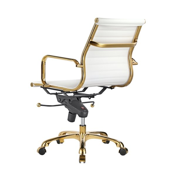 Plata Import Toni Mid Back Office Chair, White And Gold Office Chair High Back