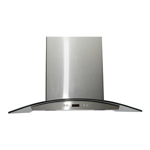 LOTUS Wall Mounted Range Hood in Stainless Stell 6 Speed Levels - 900 CFM - 30-in