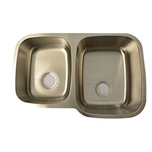 Évier de cuisine double Buckler Glaobal à montage sous plan, acier inoxydable avec 1 trou pour robinet, 20.7 po x 9 po x 32 po