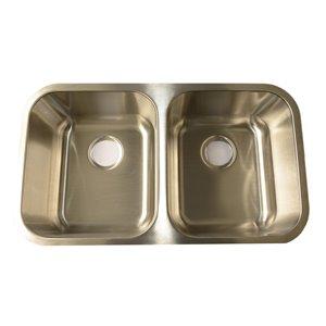 Évier de cuisine double Buckler Glaobal à montage sous plan, acier inoxydable avec 1 trou pour robinet, 18 po x 9 po x 28 po