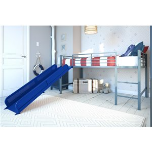 DHP Loft Bed - Twin/Twin - 43-in x 77.5-in x 98.5-in - Silver/Blue