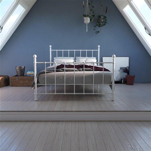 DHP BrickMill Metal Bed - Full - 57-in x 44-in x 78-in - White