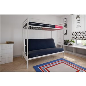 Lit mezzanine sur futon DHP, simple/simple, 54,5 po x 78 po x 72,5 po, blanc