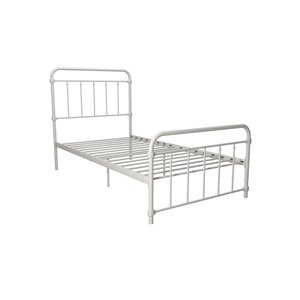 DHP Wallace Metal Bed - Twin - 46-in x 42-in x 78-in - White
