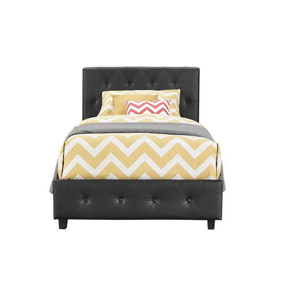 DHP Dakota Upholstered Bed - Twin - 39-in x 43.5-in x 80-in - Black Faux Leather