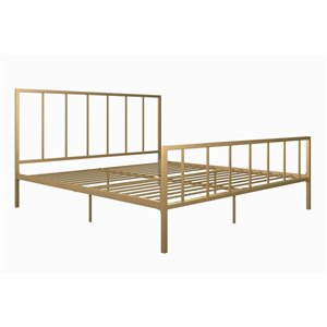 DHP Stella Metal Bed - King - 46-in x 78-in x 82.5-in - Gold