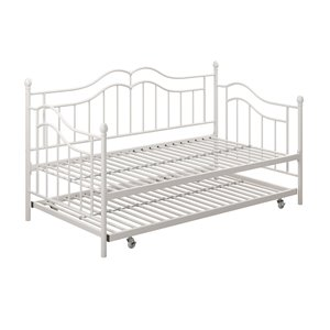 DHP Tokyo Metal Daybed and Trundle - Twin - 42.5-in x 41.5-in x 77.5-in - White