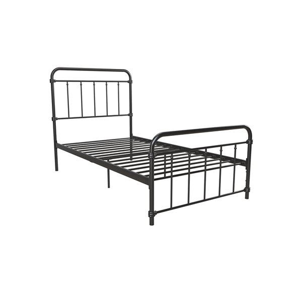DHP Wallace Metal Bed - Twin - 46-in x 42-in x 78-in - Black